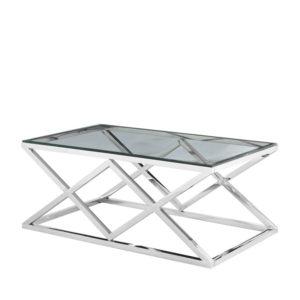 Mesa de centro rectangular con aspas de acero y cristal