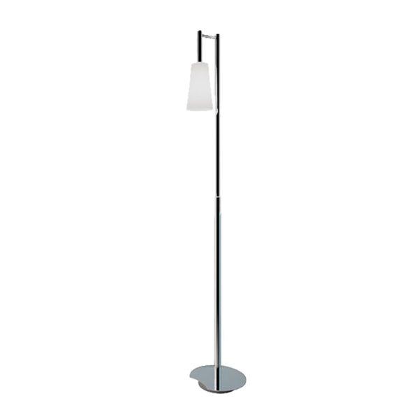 Lámpara de pie cromada con tulipa de cristal blanco