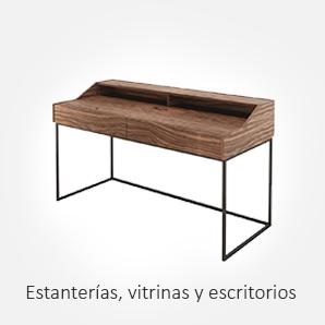 Selección de estanterías, vitrinas y escritorios