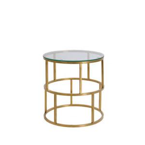 Mesa auxiliar redonda de metal dorado