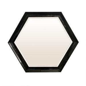 Espejo hexagonal en laca brillo negra