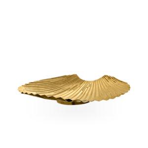 Centro de mesa dorado con forma de concha