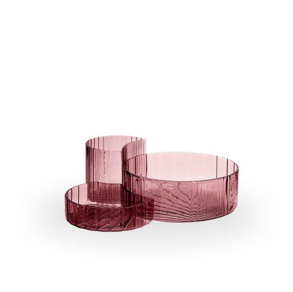 Set de entremeseros de cristal rosa