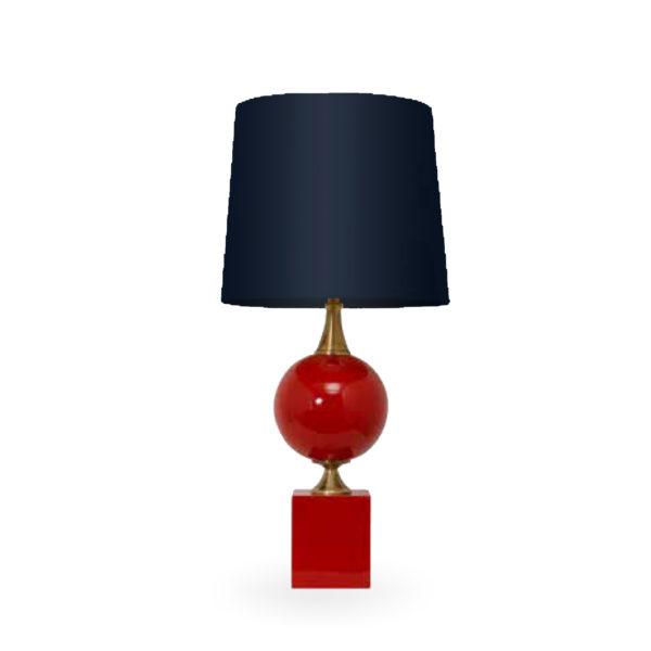 Lámpara de sobremesa roja con pantalla azul