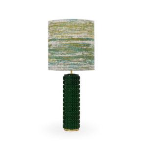 Lámpara de de sobremesa de cerámica verde con pantalla jaspeada