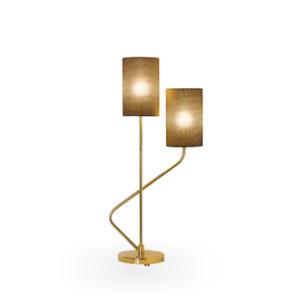 Lámpara de sobremesa dorada con dos luces
