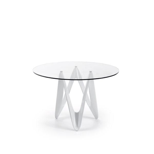 Mesa redonda de cristal con pata de diseño