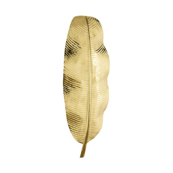Aplique dorado con forma de hoja alargada