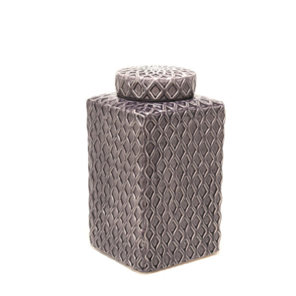Tibor de cerámica morado alto