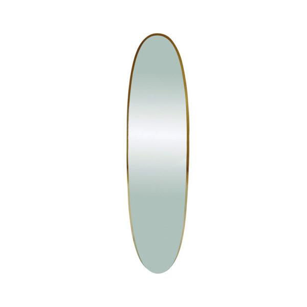 Espejo dorado ovalado y alargado