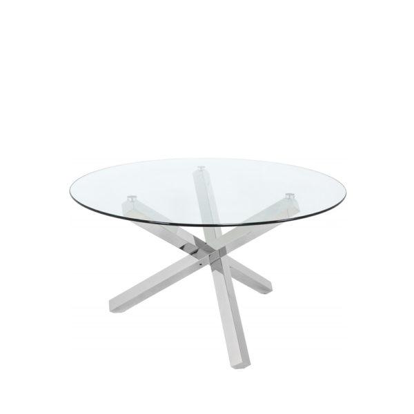 Mesa de comedor redonda con base de acero