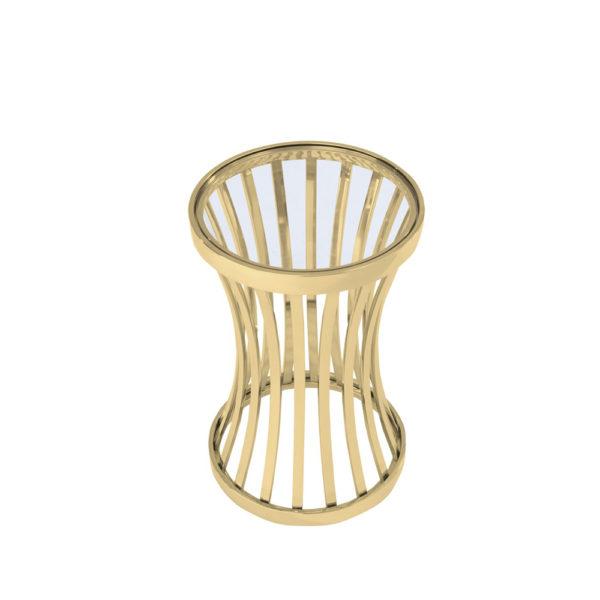 Mesa de rincón dorada