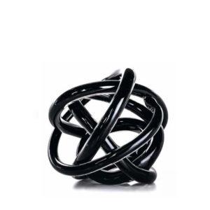 Adorno de cristal negro con forma de ovillo
