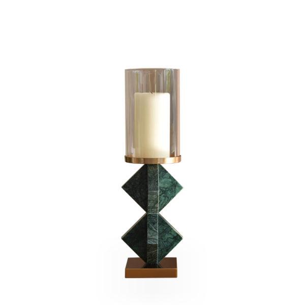 Candelero alto de mármol verde y cristal
