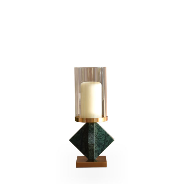 Candelero bajo de mármol verde