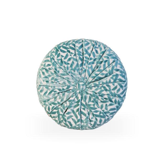 Cojín redondo azul con botón Dufrene de Designers Guild