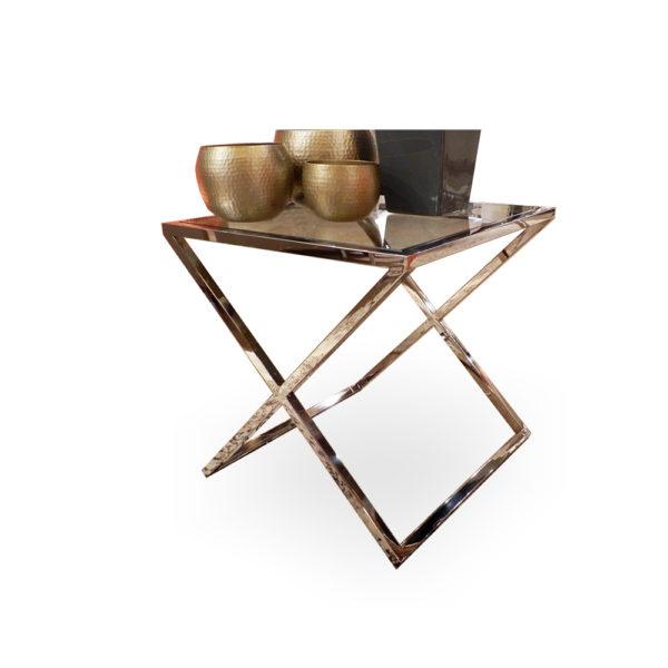 Mesa de aspas de acero y cristal