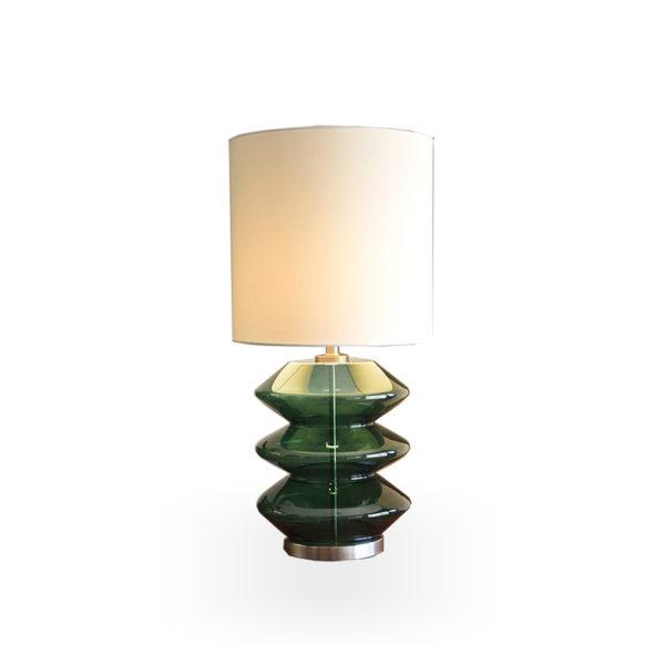 Lámpara de sobremesa de cristal verde
