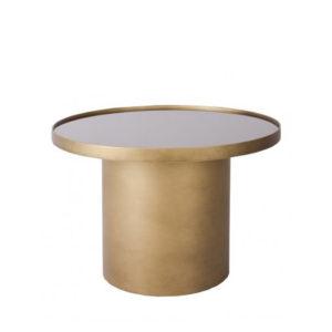 Mesa de centro en color dorado cepillado y espejo
