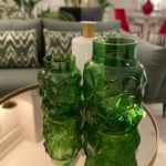 Jarrón de cristal verde