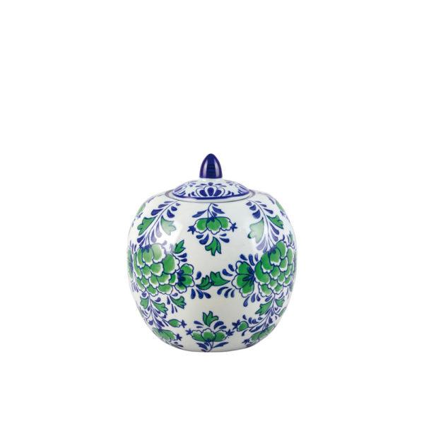 Caja cerámica con flores azules