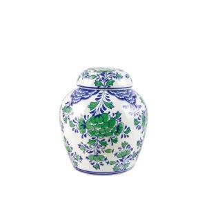 Jarrón con tapa de flores azules