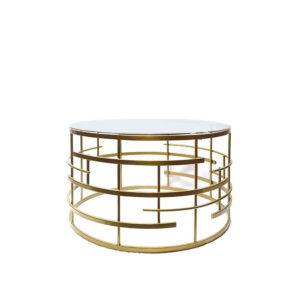 Mesa de hierro bronce con cristal