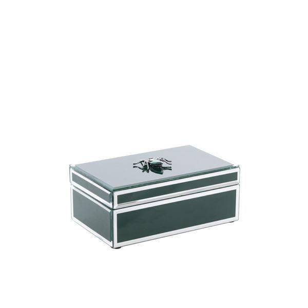 Caja de cristal verde con araña