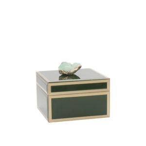 Caja de cristal verde con piedra