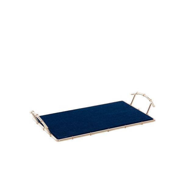 Bandeja de metal rosa con base azul pequeña