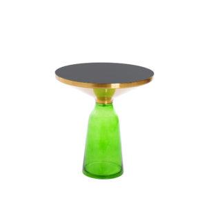 Mesa con tapa de latón y base de cristal verde