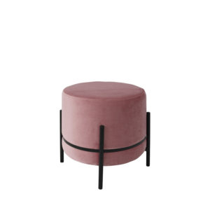 Banqueta redonda Levin de terciopelo rosa