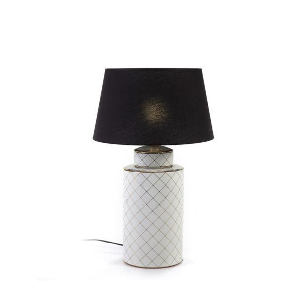 2106100 Lámpara de cerámica blanca y dorada