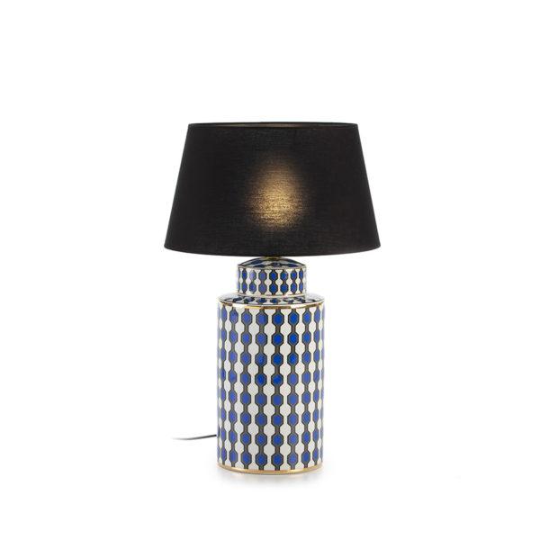 2106800 Lámpara de ceramica blanca, azul y dorada