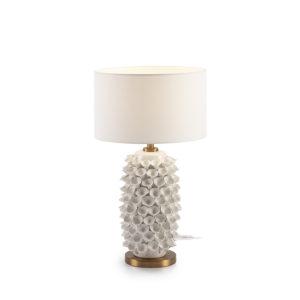 Lámpara de cerámica blanca con calas