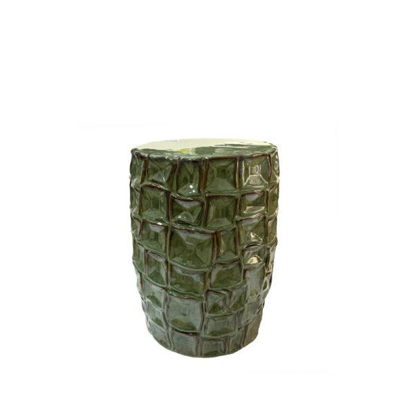 Taburete de cerámica con diseño de cocodrilo