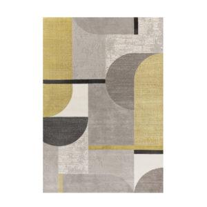 Alfombra de diseño 70 en gris y amarillo