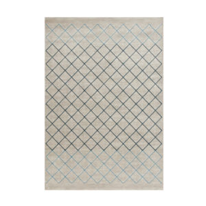 41015100 Alfombra gris con rombos azules