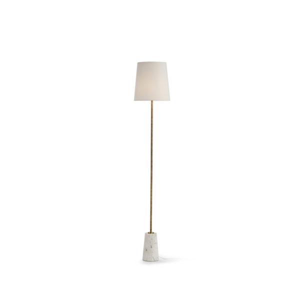 Pie de lámpara dorado con mármol