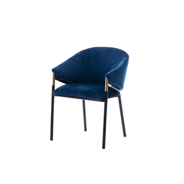 Silla con diseño años 70 azul oscuro