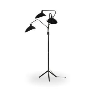 Lámpara de pie retro de metal negro