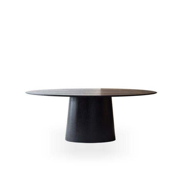 Mesa de comedor oval negra
