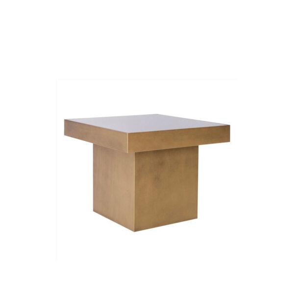 Mesa cuadrada con espejo dorado